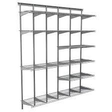 closetmaid max load garage 6 ft x 16 in satin chrome ventilated wire shelf