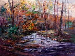 high chroma painting cuttalossa creek at evening 36x48 by michael harding ambassador george gallo