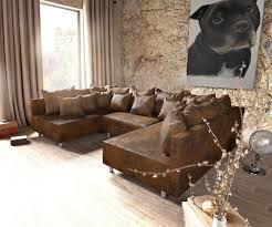 Couch Clovis Braun Antik Optik Wohnlandschaft Modulares Sofa