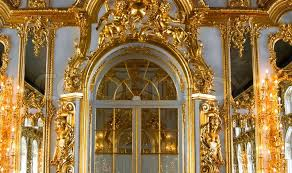 beautiful wall with large door golden candelabras and decorations in catherine palace stock photo colourbox