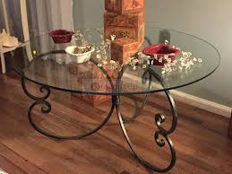 iron glass coffee table handmade coffee table with forged iron base round glass top wrought iron