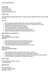 Gallery For Sample Student Resumes Nursing Student Resume Resume
