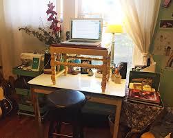 makeshift standing desk in home office