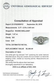 certified round brilliant diamond halo enement ring in 14k white gold g h si3 1 27 ct twt