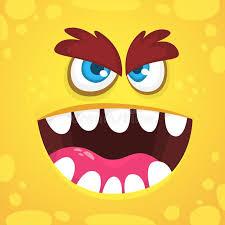angry cartoon monster face vector orange monster avatar design for print