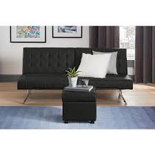 black leather square ottoman.  Leather DHP Emily Black Faux Leather Square Storage Ottoman On J
