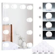 brightown hollywood style led vanity mirror lights kit with smart dimmer 10 light bulbs lighting fixture strip for makeup vanity table set in dressing room