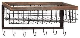 wood and metal wall basket