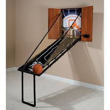 Wooden Hoop Game The Wall Mounted Fold Out Mahogany Basketball Game Hammacher 71