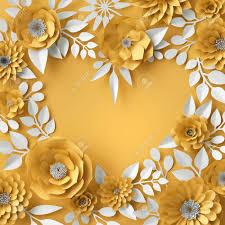 Paper Flower Frame 3d Illustration Decorative Red Paper Flowers Background Floral