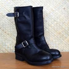 vintage style mens black leather adtec engineer biker boots size uk 8 us 9