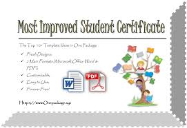 Most Improved Student Certificate Top 10 Ultimate Awards