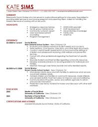 Childcare Resume Objective Job Resume Social Work Resume Help Social Worker Social 65