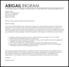 Front Office Assistant Cover Letter Sample Cover Letter