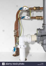 Pipe Under Kitchen Sink Earth Bonding Wires And Copper Pipes Under
