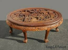 Carved solid mango wood round coffee table manilal maisons du monde pertaining to measurements 1000 x 1000. Post 1950 Carved Coffee Table Vatican