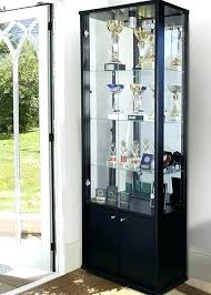 contemporary curio cabinet with glass door display inspiring for light bottom storage locking drawer without curved side