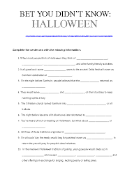 Worksheet: Bet You Didn't Know - Halloween