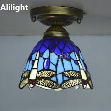 ceiling light stained glass lampshade country dragonfly living room indoor lighting e27 home decor lighting