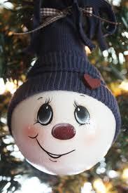 <b>Hand Painted</b>, <b>Large</b>, Navy Blue, Snowman, Light Bulb Ornament ...