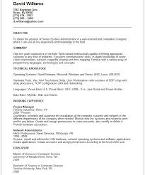 Resume Samples For System Administrator Job Position Vinodomia
