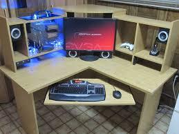 custom computer built inside desk shelving