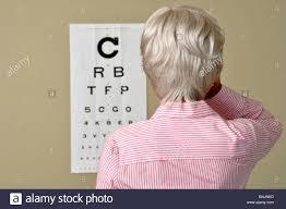 Visual Acuity Eye Test Mature Senior Woman Medicine Old Sick