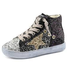2019 Children Boy Brand Glitter High Top Sneaker Baby Girl Fashion Trainer Toddler Pu Leather Sequins Shoe F1701