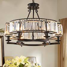 yue jia luxury contemporary round island crystal chandelier lighting fixture for dining room w25 6 x h19 7