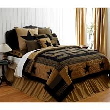 3pc delaware star queen set quilt primitive rustic black khaki plaid farmhouse