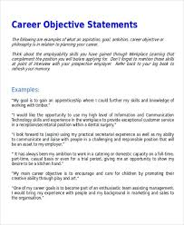 Sample Resume Objectives Statements 7 Sample Career Objective Statements Sample Templates