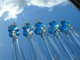 5 of 10 aqua marine turquoise crystal glass icicle chandelier drops ts
