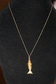vintage articulated 14k gold fish pendant 10k necklace w ruby eyes charm