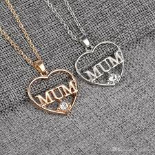whole my love mum necklace silver gold plated crystal heart pendants chain best friend family jewelry for women grils drop key necklace bar