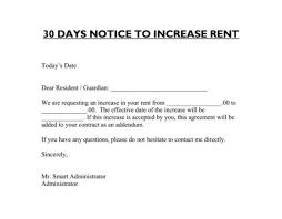 Rent Increase Notification Letter Letter For Rent Increase New Sample Rent Increase Letter 30 Day