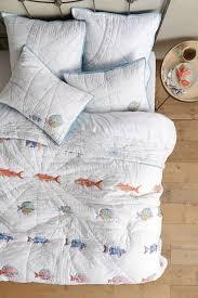 $326 NEW ANTHROPOLOGIE Home Bedding Seadrifter Fish Nautical King ... & $326 NEW ANTHROPOLOGIE Home Bedding Seadrifter Fish Nautical King Quilt &  Shams Adamdwight.com