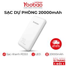 Sạc dự phòng 20000mAh Yoobao D20 Đầu ra 2 cổng USB - Hàng chính hãng - Bảo  hành 12 tháng 1 đổi 1 giá cạnh tranh