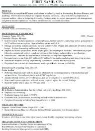 Cpa Sample Resume Resume Template Directory
