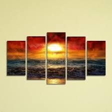 2018 5 panel wall art painting ocean beach decor canvas prints picture fire kissed water digital photo print on canvas for home from utoart