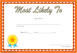 Most Likely To Award Template Most Likely To Certificate Template 4 One Package