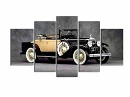 5 panel vintage car decorative canvas painting classic car home decorative paintings artwork exhibition wall hanging