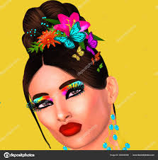 modern fashion hairstyle and beauty scene with erflies in hair yellow background matching make up and accessories our unique 3d rendered digital