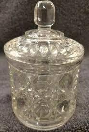 mint crystal vintage clear glass sugar bowl w lid windsor on cane federal