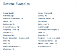 Resume Category Examples - Examples of Resumes