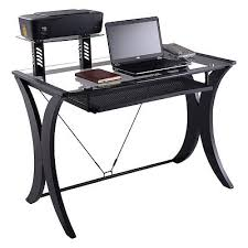 computer desk pc laptop table glass top w printer shelf workstation home office