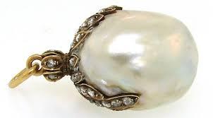 women s georgian natural baroque pearl diamond yellow gold pendant