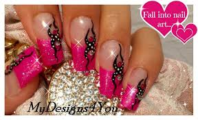 Pink Glitter Nail Art Tutorial | Tattoo Nail Design | Monochrome ...