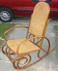 antique vintage thonet cane bentwood rocker rocking chair marked see photos