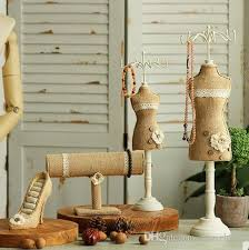 md056 retro nostalgia cotton and linen lace jewelry display stand