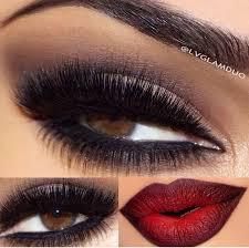 gothic makeup black smokey eye blood red lips